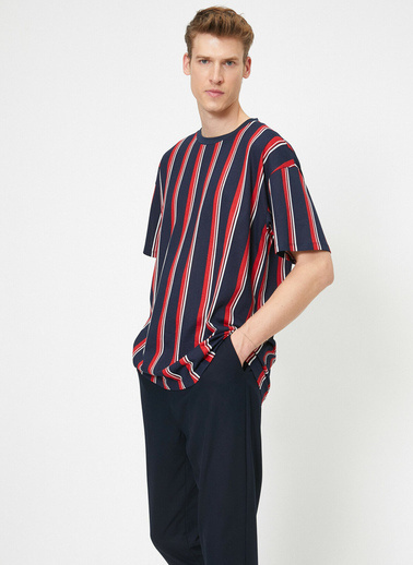 Koton Çizgili T-Shirt Kırmızı